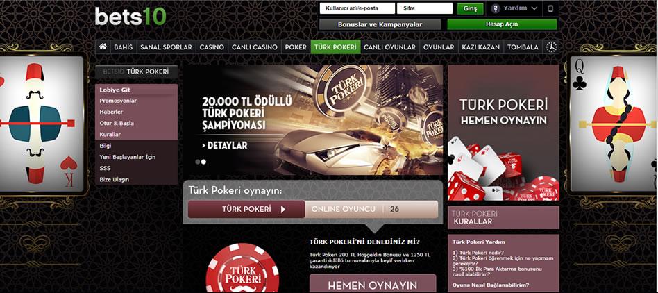 Bets10 Türk Pokeri Sayfası Genel Görünümü