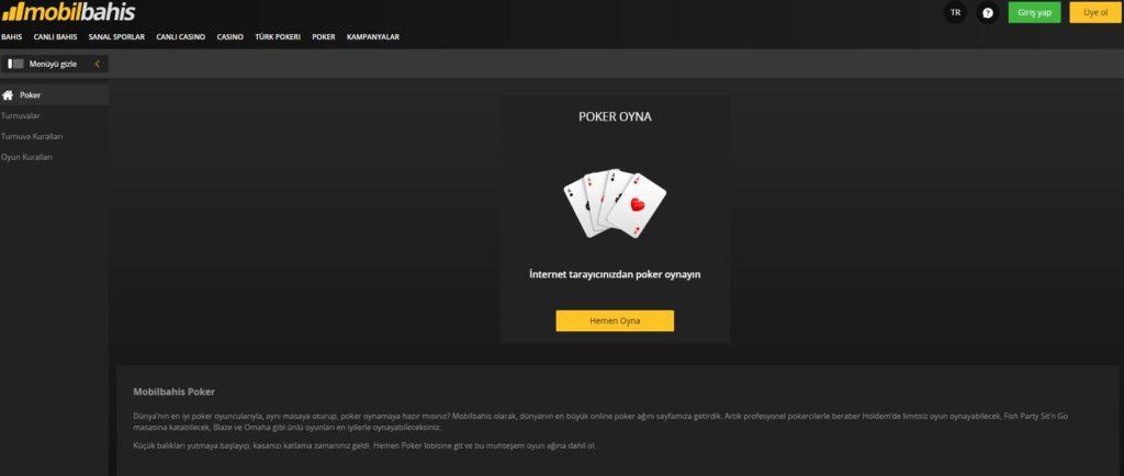 Mobilbahis Poker Cep Telefonu ile Poker Oyna